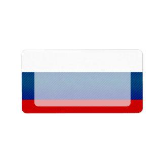 Bandera rusa pelada moderna etiqueta de dirección