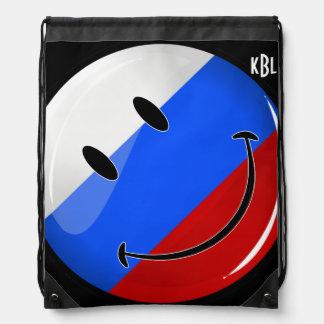 Bandera rusa sonriente mochila