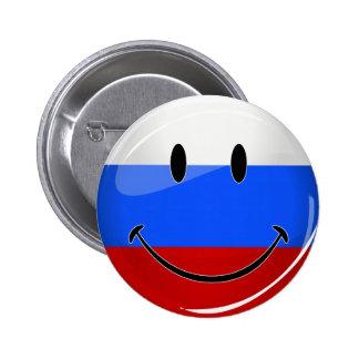 Bandera rusa sonriente pin redondo de 2 pulgadas