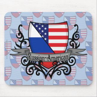 Bandera Ruso-Americana del escudo Alfombrillas De Ratón