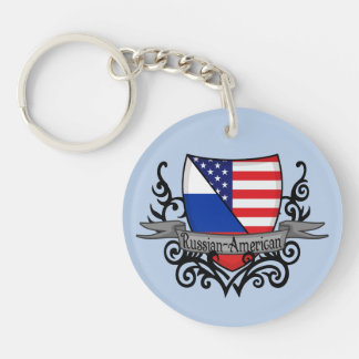 Bandera Ruso-Americana del escudo Llavero Redondo Acrílico A Doble Cara