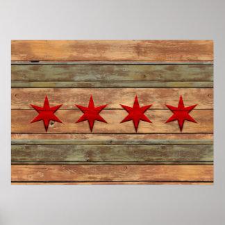Bandera rústica del vintage de Chicago Póster