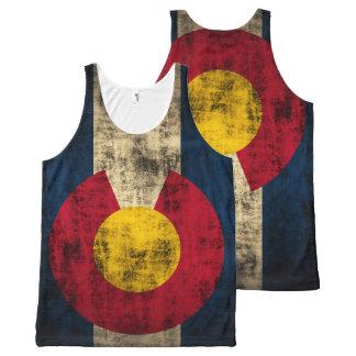 Bandera rústica del vintage de Colorado Camiseta De Tirantes Con Estampado Integral
