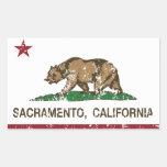 bandera Sacramento de California apenada Pegatina Rectangular