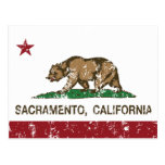 bandera Sacramento de California apenada Postales