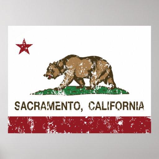 bandera Sacramento de California apenada Póster
