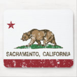 bandera Sacramento de California apenada Alfombrilla De Ratón