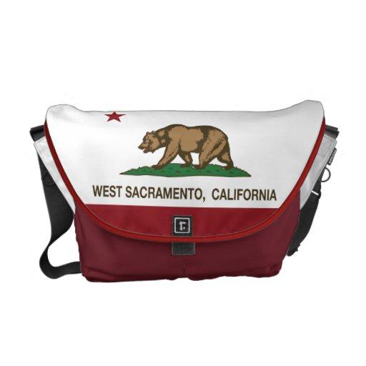 Bandera Sacramento del oeste del estado de Califor Bolsa De Mensajeria