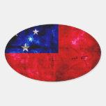 Bandera samoana pegatinas ovales