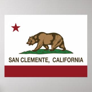 Bandera San Clemente del estado de California Póster