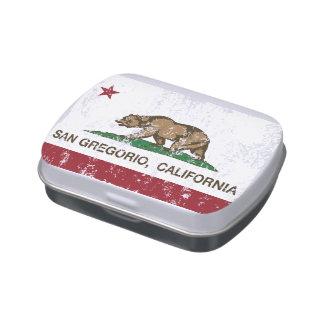 Bandera San Gregorio de la república de California Latas De Caramelos