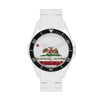Bandera San Gregorio de la república de California Reloj
