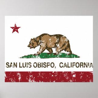 Bandera San Luis Obispo del estado de California Póster