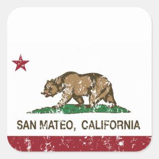 Bandera San Mateo del estado de California Pegatina Cuadrada