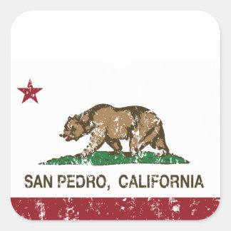 Bandera San Pedro de la república de California Pegatina Cuadrada