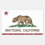 Bandera San Pedro de la república de California Pegatina Rectangular