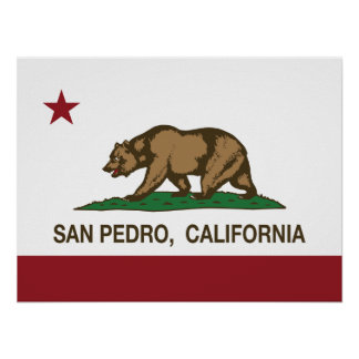 Bandera San Pedro de la república de California Póster