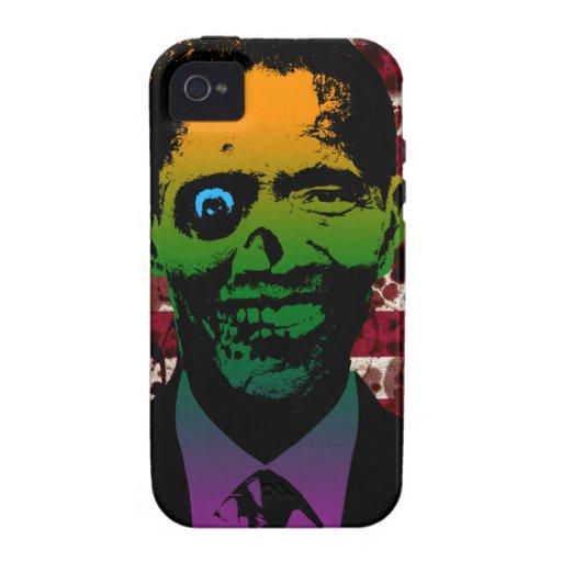 Bandera sangrienta de Obama del zombi iPhone 4 Carcasa