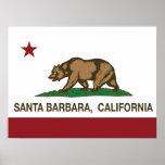 Bandera Santa Barbara del estado de California Póster