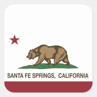 Bandera Santa Fe Springs de la república de Pegatina Cuadrada