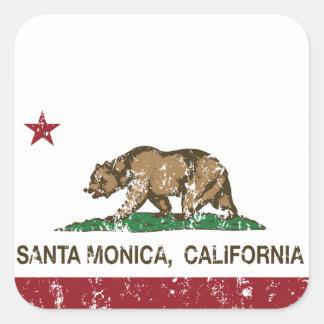 Bandera Santa Mónica del estado de California Pegatina Cuadrada