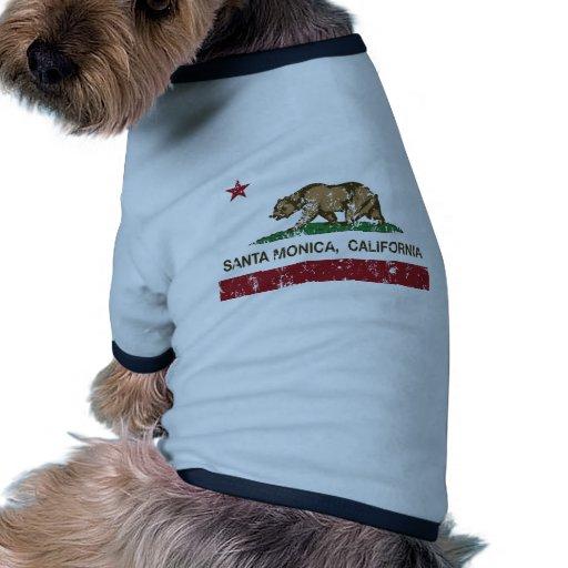 Bandera Santa Mónica del estado de California Camisetas De Perro