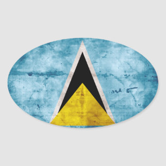 Bandera santalucense resistida pegatina ovalada