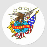 Bandera Semper Fi de Eagle del tatuaje del viejo Pegatina Redonda