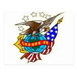 Bandera Semper Fi de Eagle del tatuaje del viejo Postal