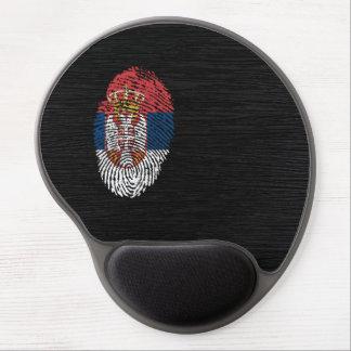 Bandera servia de la huella dactilar del tacto alfombrilla gel