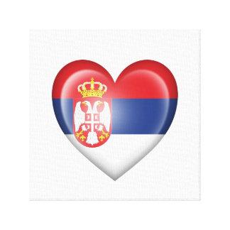 Bandera servia del corazón en blanco impresión en lienzo estirada