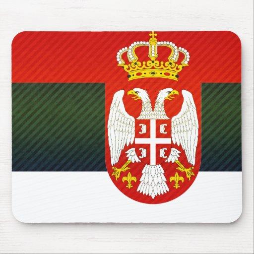 Bandera servia pelada moderna alfombrillas de ratón