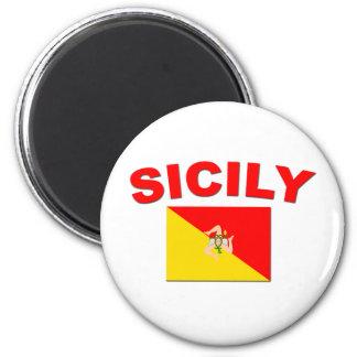 Bandera siciliana 1 imán redondo 5 cm