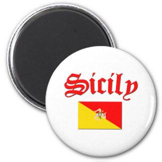 Bandera siciliana 2 imán redondo 5 cm