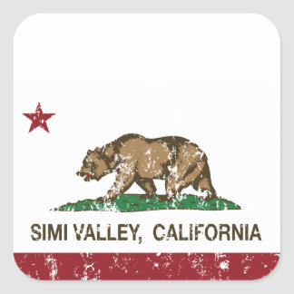 Bandera Simi Valley del estado de California Pegatina Cuadrada