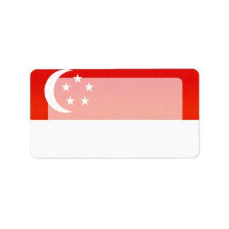 Bandera singapurense pelada moderna etiqueta de dirección