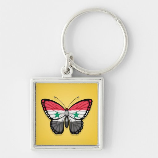Bandera siria de la mariposa en amarillo llavero