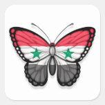 Bandera siria de la mariposa pegatinas cuadradases