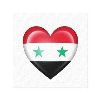 Bandera siria del corazón en blanco impresiones en lona