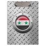Bandera siria industrial con el gráfico de acero