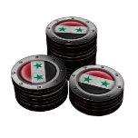 Bandera siria industrial con el gráfico de acero fichas de póquer