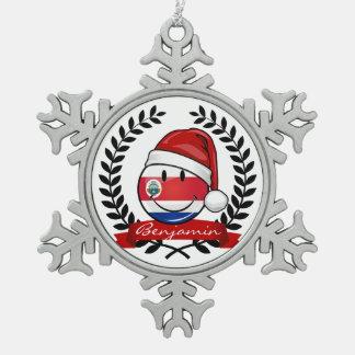 Bandera sonriente alegre de Rican de la costa del Adorno De Peltre En Forma De Copo De Nieve