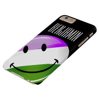 Bandera sonriente brillante de Genderqueer Funda De iPhone 6 Plus Barely There