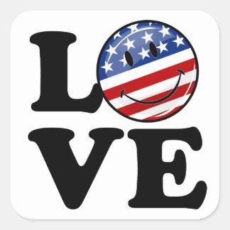 Bandera sonriente de América del amor Pegatina Cuadrada