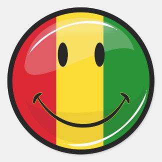 Bandera sonriente de Guinea Pegatina Redonda