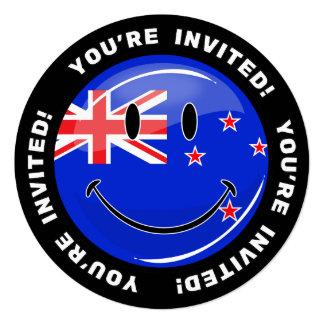 """Bandera sonriente de Nueva Zelanda Invitación 5.25"""" X 5.25"""""""