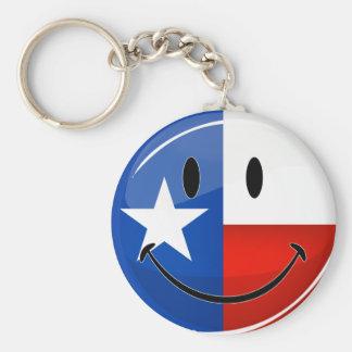 Bandera sonriente de Tejas Llavero Redondo Tipo Chapa