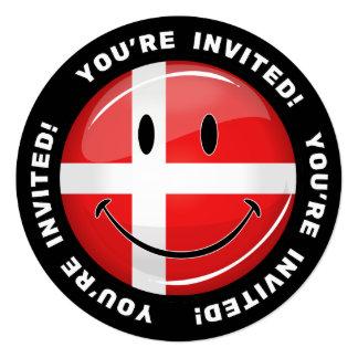 """Bandera sonriente del danés de Dinamarca Invitación 5.25"""" X 5.25"""""""