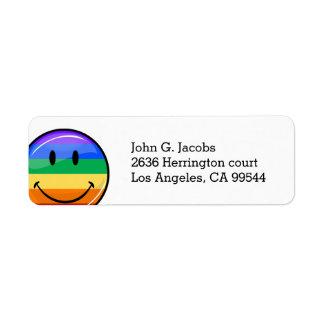 Bandera sonriente del orgullo gay de la ronda etiqueta de remite