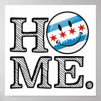 Bandera sonriente Housewarmer de Chicago Póster